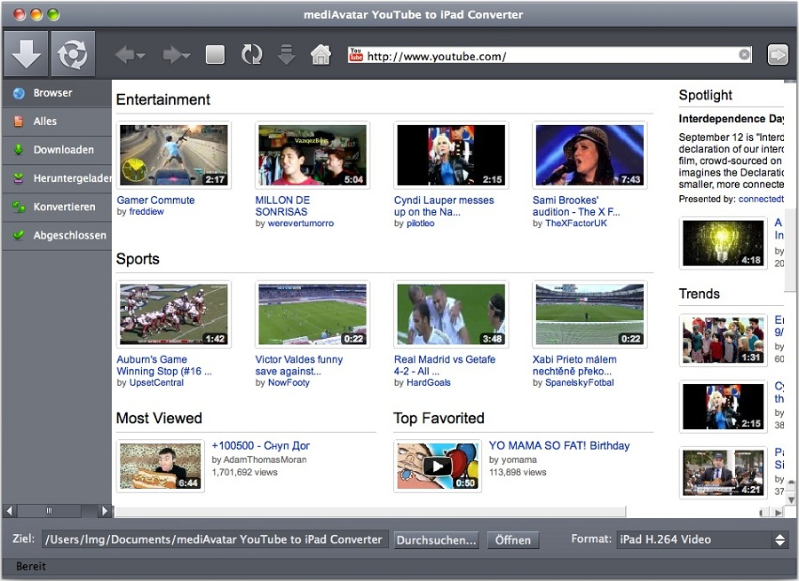 mediAvatar YouTube to iPad Converter Mac
