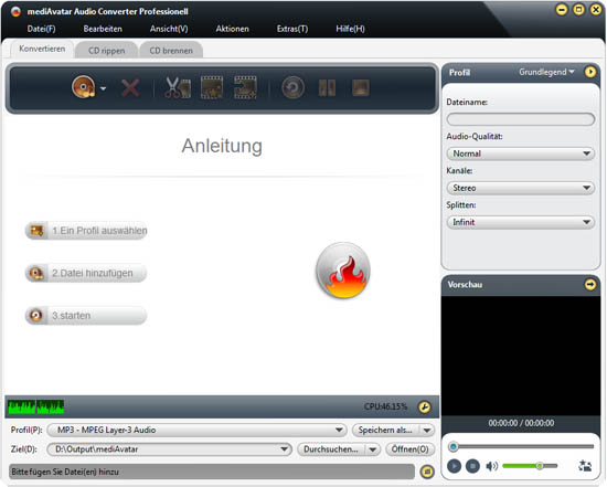 Audio Converter, MP3 umwandeln